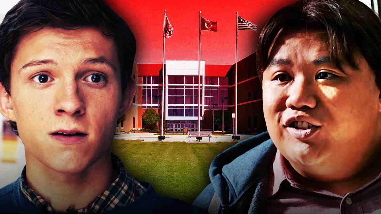 Peter Parker on Left, Ned Leeds on right, high school in background