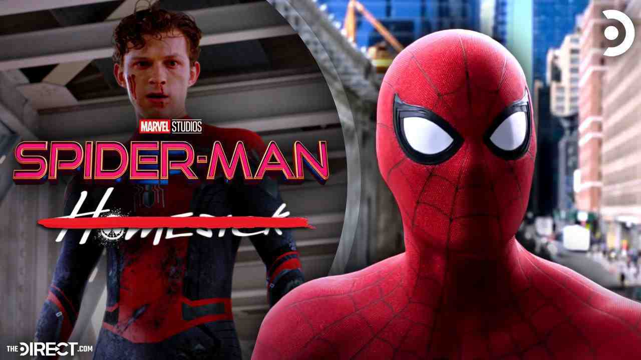 Tom Holland as Spider-Man, Spider-Man Logo, Homesick text with strikethrough, Spider-Man from FFH
