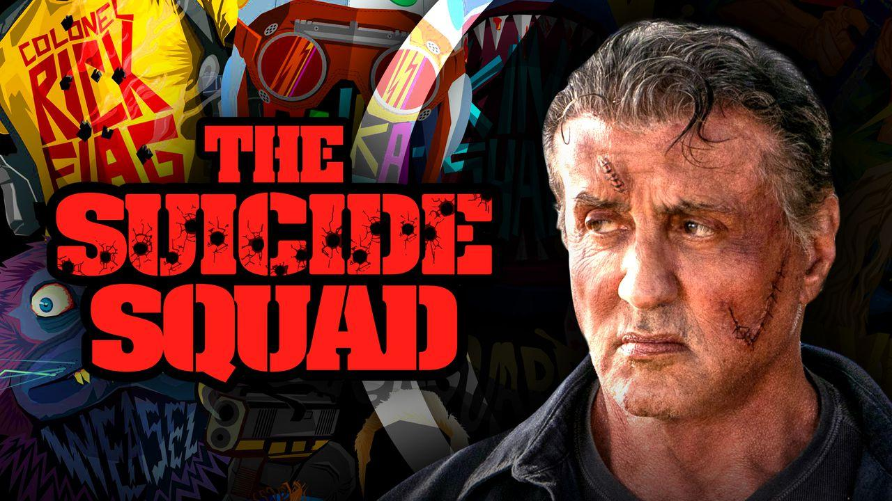 The Suicide Squad logo on left and Sylvester Stallone on right