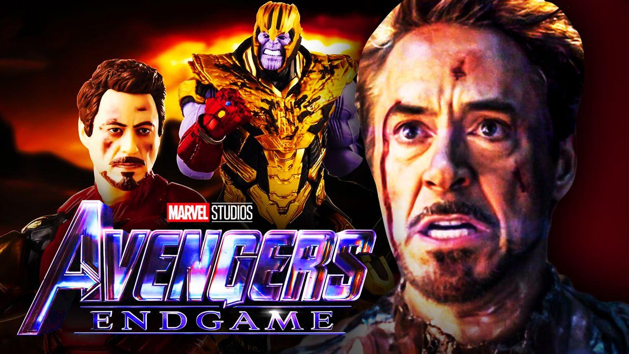 Robert Downey Jr Iron Man Josh Brolin Thanos Avengers Endgame logo