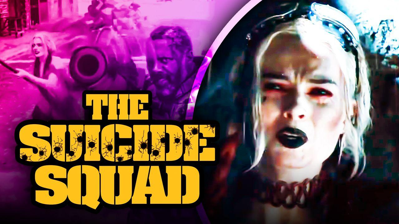 The Suicide Squad logo, Margot Robbie as Harley Quinn
