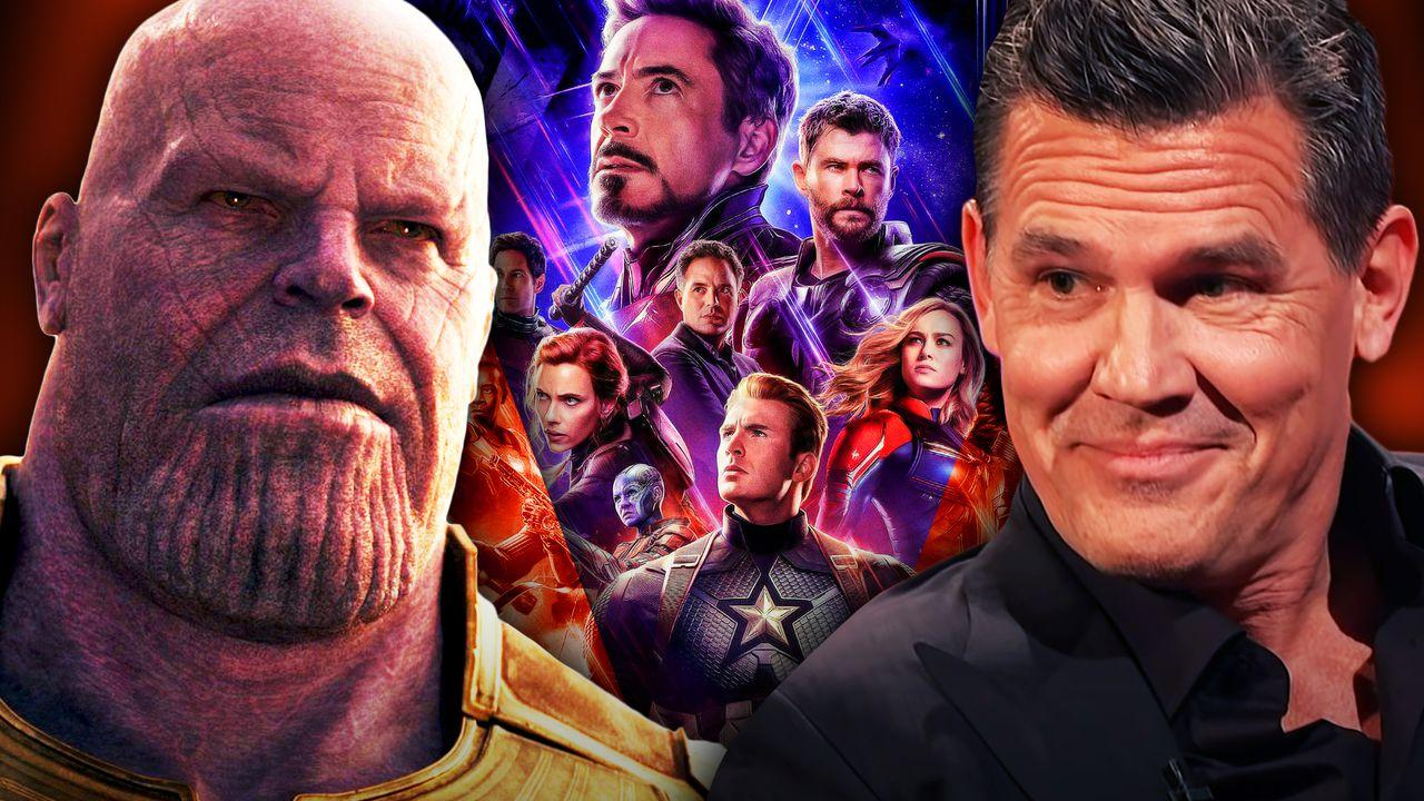 Thanos on left and Josh Brolin on right with Avengers in middle
