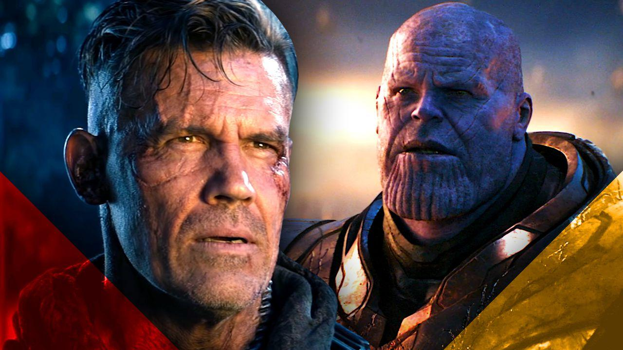 Cable on left, Thanos on right