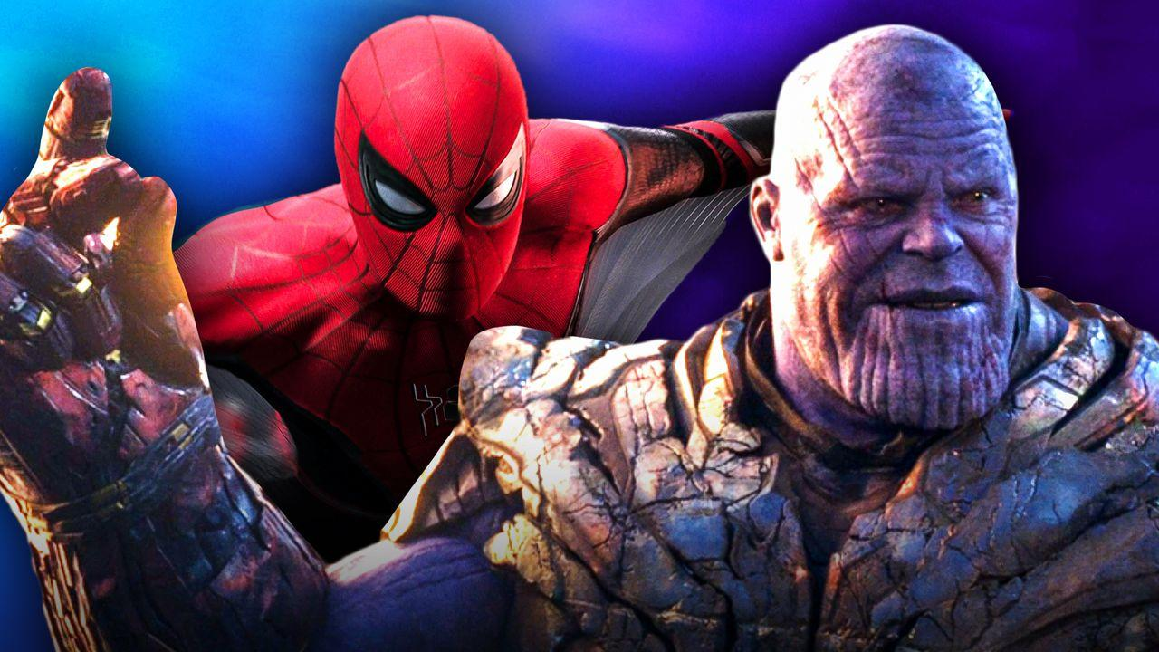 Spider-Man and Thanos with Infinity Gaunlet