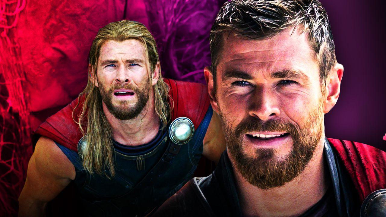 Thor with long hair, Chris Hemsworth's Thor with short hair