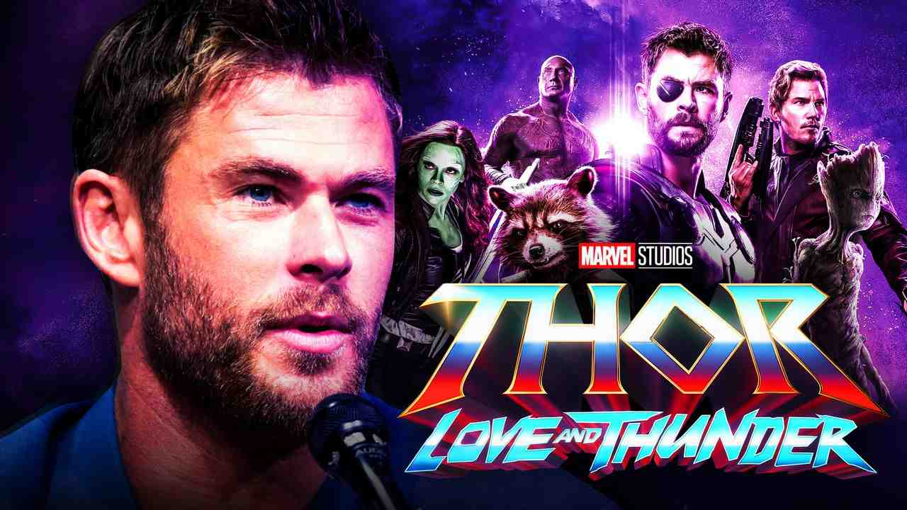 Chris Hemsworth with Thor and the Guardians of the Galaxy