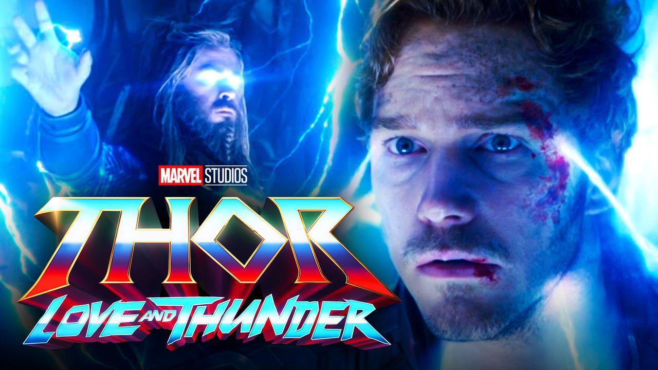 Chris Pratt as Peter Quill, Chris Hemsworth as Thor, Thor: Love and Thunder logo