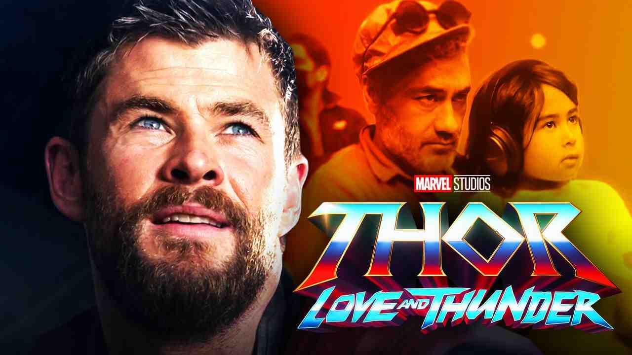 Chris Hemsworth as Thor, Taika Waititi with his daughter, Thor: Love and Thunder logo