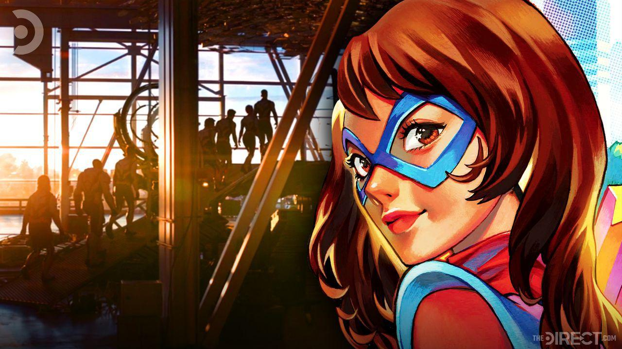 Ms. Marvel punching out bank robber on left, Ms. Marvel looking behind her on right
