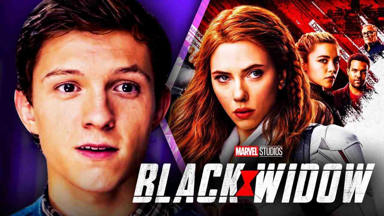 Tom Holland as Spider-Man, Scarlett Johansson as Black Widow