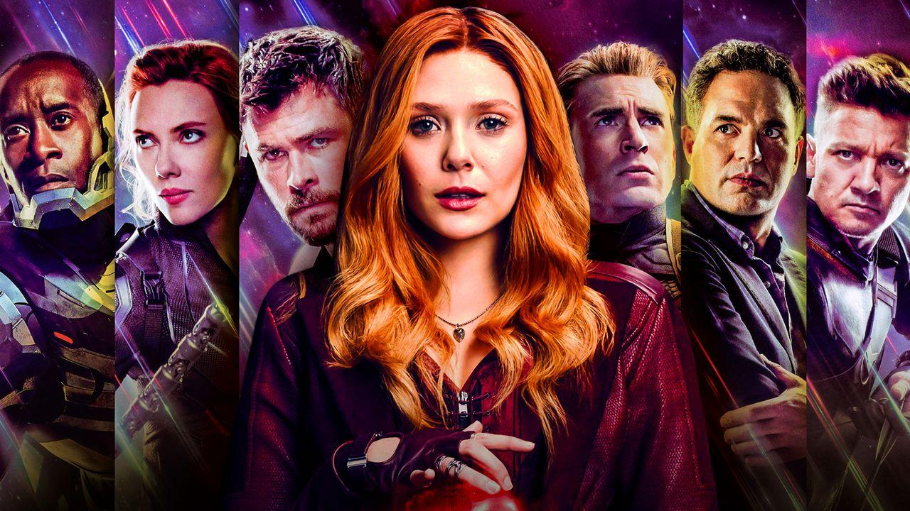 Elizabeth Olsen as Wanda Maximoff in front of Marvel's Avengers characters.