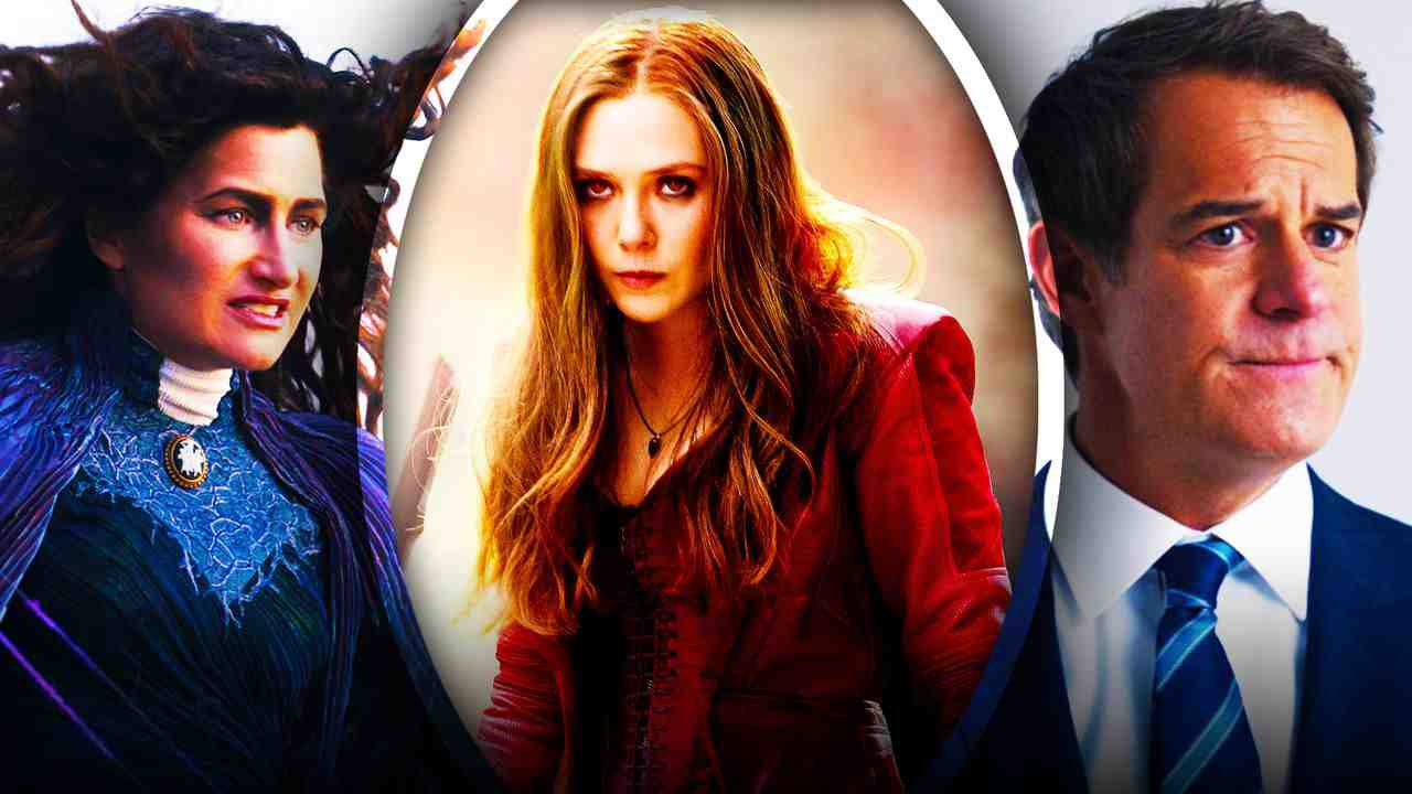 WandaVision Villains Tyler Hayward, Agatha Harkness and Wanda Maximoff
