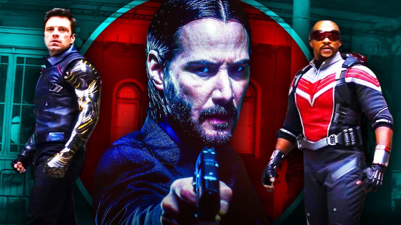 Keanu Reeves as John Wick, Anthony Mackie as Falcon, Sebastian Stan as Bucky