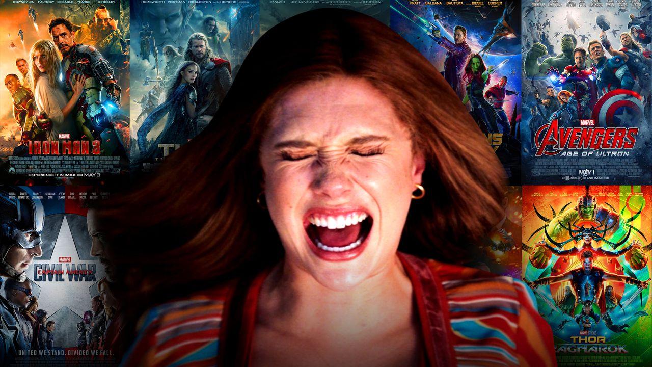 Elizabeth Olsen's Scarlet Witch, MCU posters.