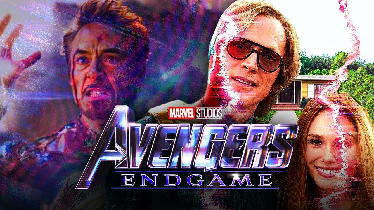 Avengers Endgame logo, Robert Downey Jr. as Iron Man, Paul Bettany as Vision