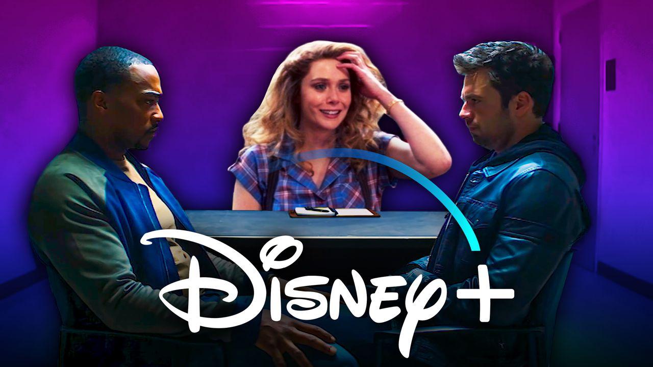Falcon, Wanda, Bucky, Disney Plus Logo