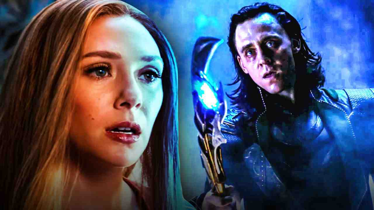 Wanda on left and Loki on right with his scepter