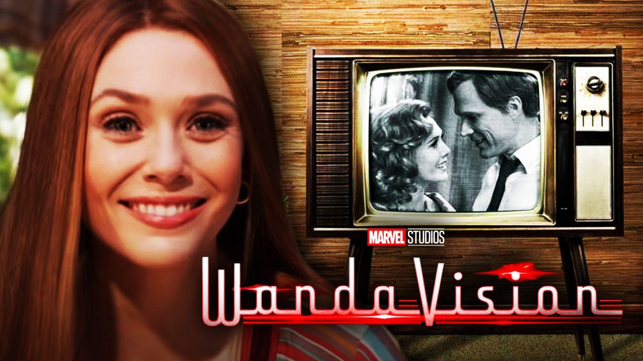 WandaVision logo, Elizabeth Olsen as Wanda Maximoff, Paul Bettany as Vision