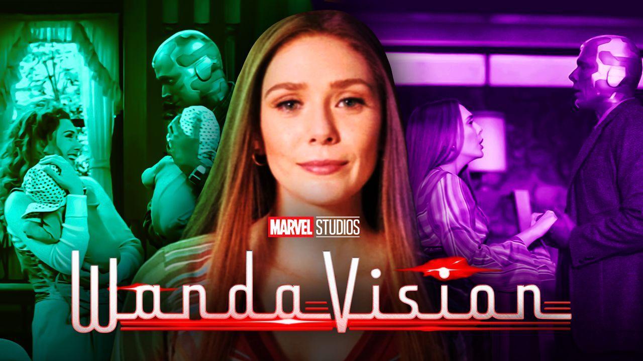 Wanda and Vision, Elizabeth Olsen as Scarlet Witch, WandaVision logo, Wanda and Vision