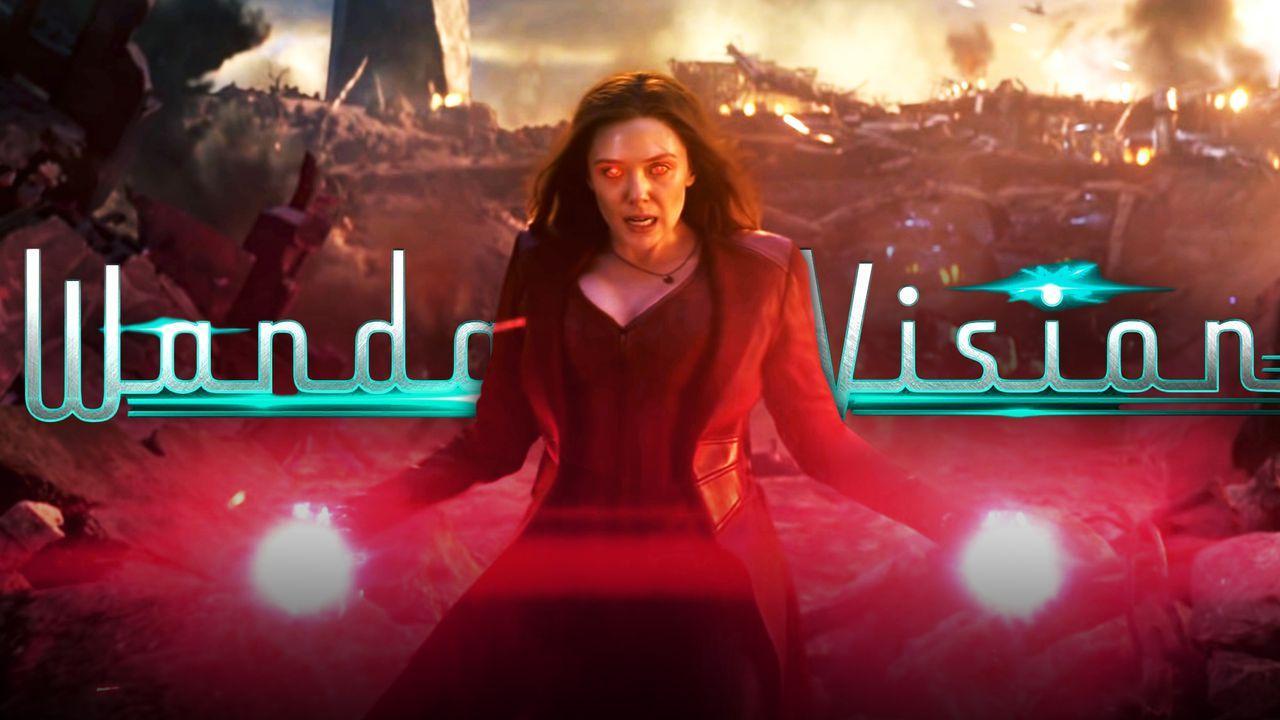 Wanda harnessing her powers in Avengers: Endgame, WandaVision title logo