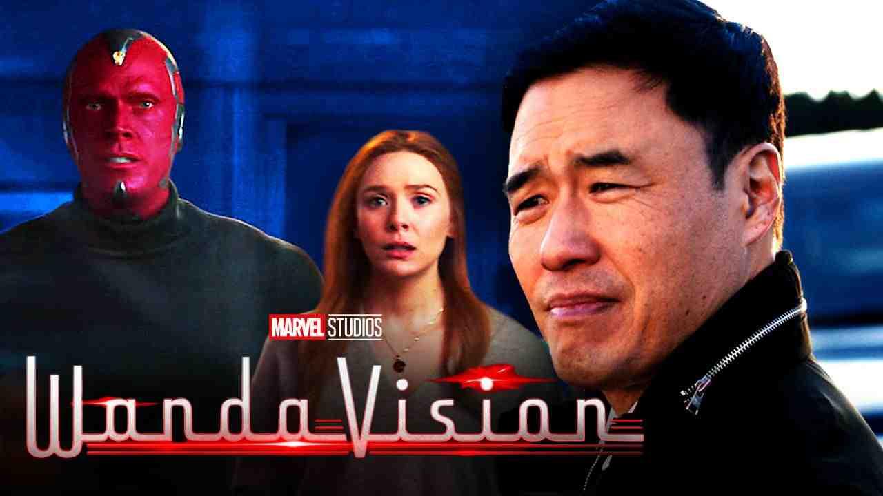 Vision, Wanda Maximoff, Jimmy Woo, WandaVision logo.