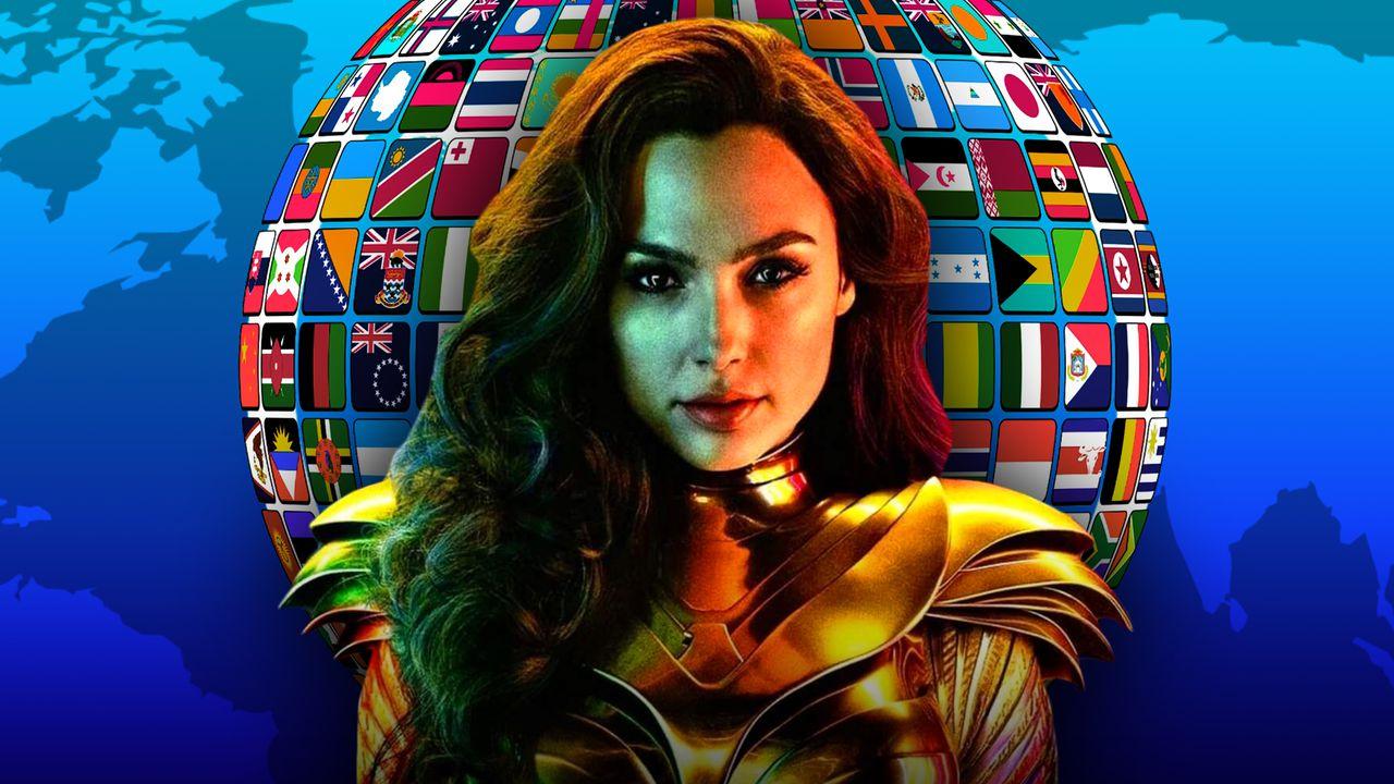 Wonder Woman with world globe in background