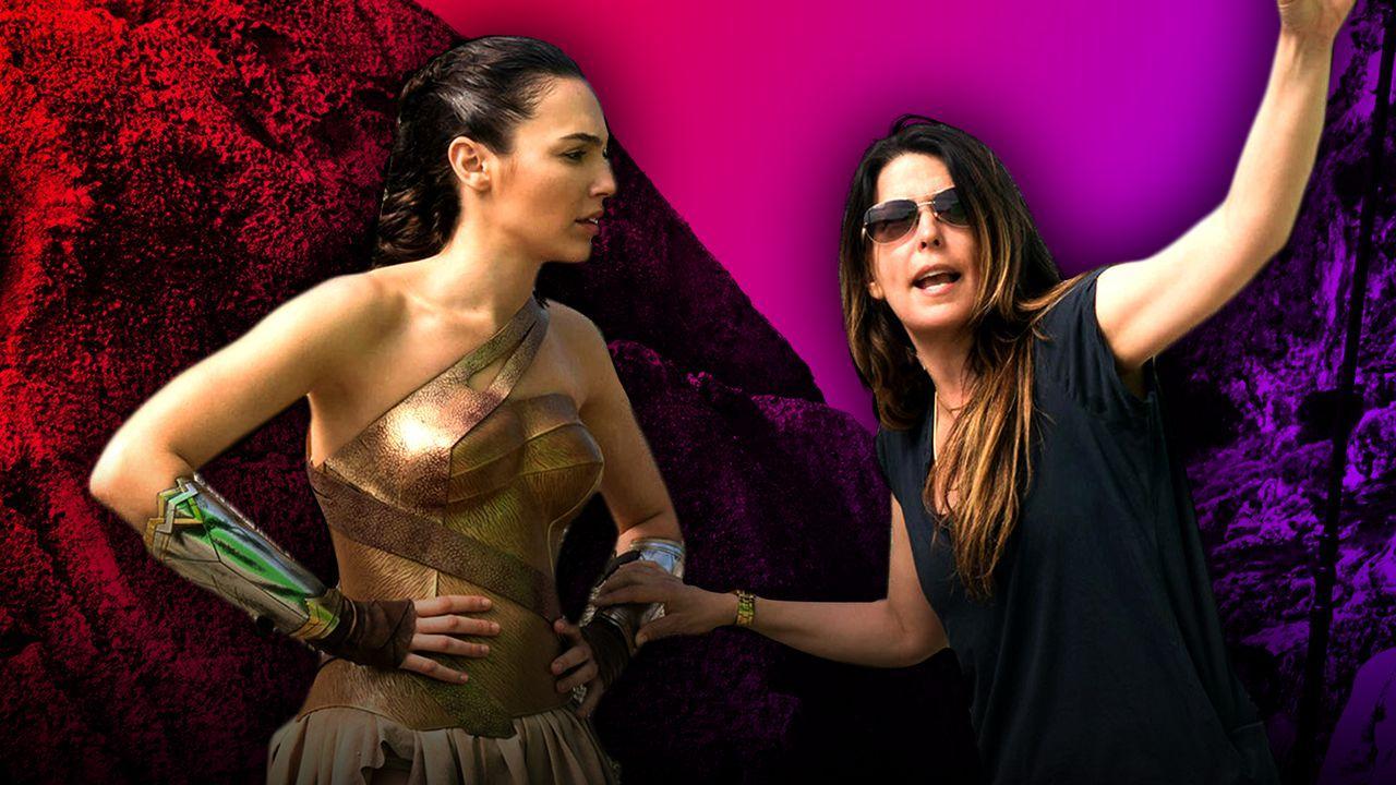 Gal Gadot and Patty Jenkins on Wonder Woman set