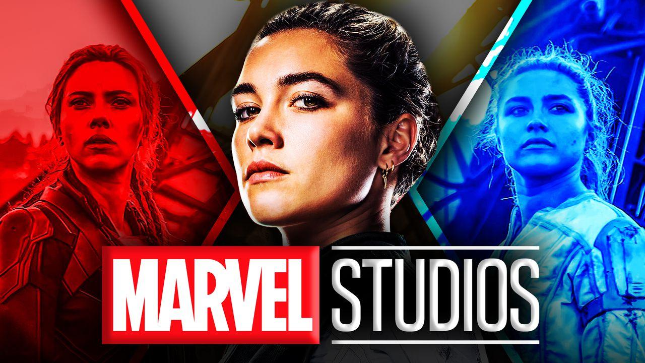Florence Pugh as Yelena Belova, Scarlett Johansson as Natasha Romanoff, Marvel Studios