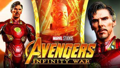 Benedict Cumberbatch as Doctor Strange, Thanos, Infinity War logo