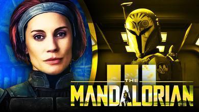 Katee Sackhoff as Bo-Katan, The Mandalorian logo