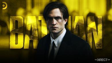 The Batman logo, Robert Pattinson as Bruce Wayne