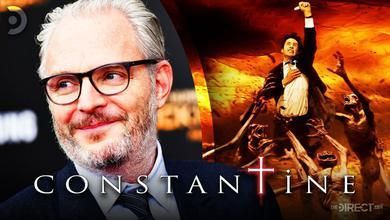 Constantine Director Francis Lawrence, John Constantine holding a cross, Constantine Logo