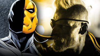 Comic Deathstroke and Joe Manganiello as Slade Wilson