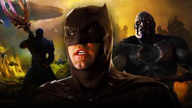 Batman in foreground with Darkseid in background