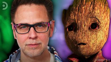 Director James Gunn and Baby Groot