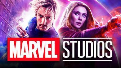 Aaron Taylor Johnson as Quicksilver, Elizabeth Olsen as Scarlet Witch, Marvel Studios logo