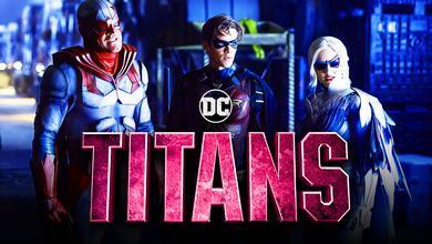 Titans logo, Brandon Thwaites as Robin, Minka Kelly as Dove, Alan Ritchson as Hawk