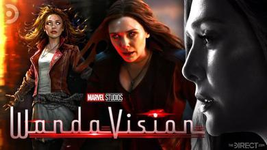 Marvel's Scarlet Witch with red eyes, Wanda Maximoff black and white
