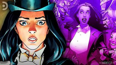 A shocked Zatanna and her surrounded by puppets