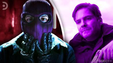 Zemo wearing mask on left, and Zemo without mask holding gun on right
