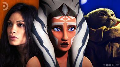 Rosario Dawson, Ahsoka Tano from Star Wars Rebels, and Baby Yoda from The Mandalorian