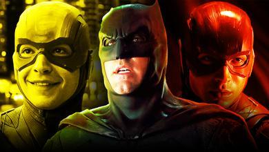 Ezra Miller as the Flash, Ben Affleck as Batman