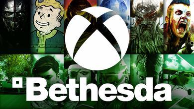 Bethesda characters behind an Xbox logo