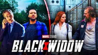 Scarlett Johansson, David Harbour in Black Widow, Thunderbolt Ross, Rick Mason