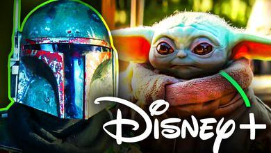 Baby Yoda Boba Fett Disney Plus Logo