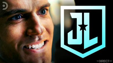 Henry Cavill as Superman, The Justice League movie logo in blue