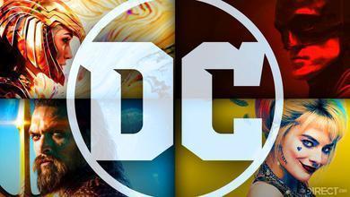 DC Logo, Gal Gadot's Wonder Woman, Robert Pattinson's Batman, Margot Robbie's Harley Quinn