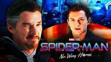 Benedict Cumberbatch as Doctor Strange, No Way Home logo, Tom Holland as Peter Parker