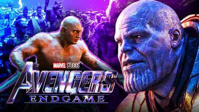 Dave Bautista as Drax, Josh Brolin as Thanos, Avengers: Endgame logo