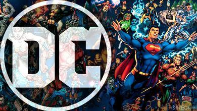 DC logo and DC heroes